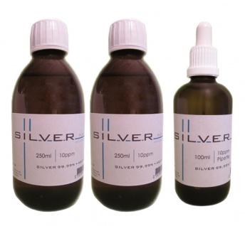 Kolloidales Silber 2x 250ml | 10ppm Flasche + 100ml | 10ppm Pipettenflasche pur