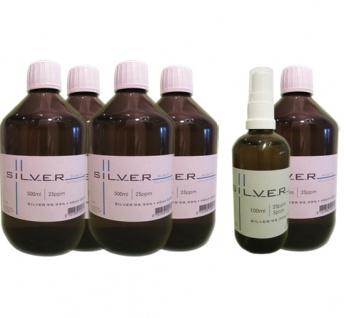 Kolloidales Silber 5x 500ml | 25ppm Flasche + 100ml | 25ppm Sprühflasche pur