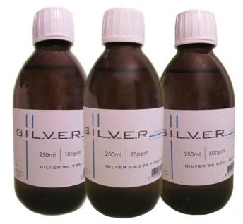 Kolloidales Silber 250ml 10+25+50ppm SET in Braunglasflasche m. Originalitätsv.