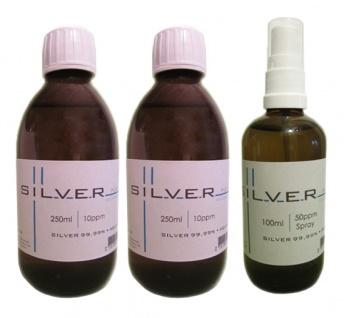 Kolloidales Silber 2x 250ml | 10ppm Flasche + 100ml | 50ppm Sprühflasche pur