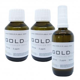 Kolloidales Gold 2x 100ml 2ppm Flasche + 100ml 2ppm Sprühflasche Spray Aurum pur
