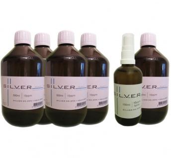 Kolloidales Silber 5x 500ml | 10ppm Flasche + 100ml | 10ppm Sprühflasche pur