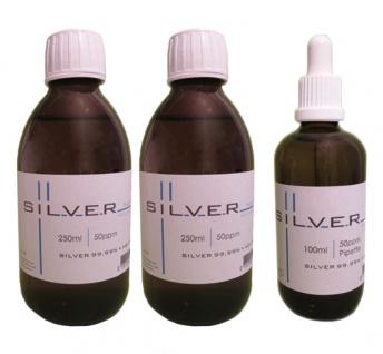 Kolloidales Silber 2x 250ml | 50ppm Flasche + 100ml | 50ppm Pipettenflasche pur