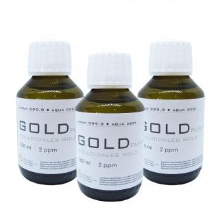 Kolloidales Gold 3x 100ml | 2ppm Flasche Braunglas Originalitätsverschluss pure