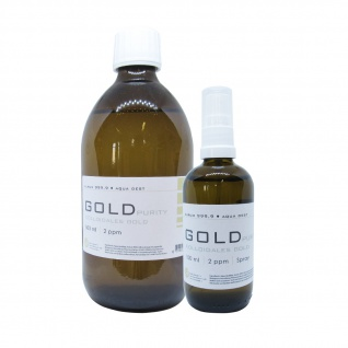 Kolloidales Gold 500ml 2ppm Flasche + 100ml 2ppm Sprühflasche Spray Aurum pur