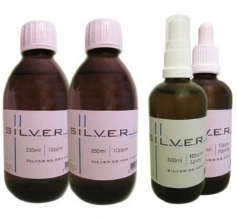 Kolloidales Silber 2x 250ml|10ppm Fl.+100ml|10ppm Pipettenfl.+100ml|10ppm Spray