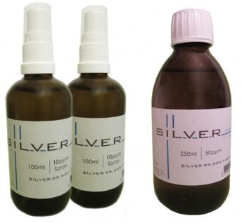 Kolloidales Silber 2x 100ml | 10ppm Sprühflasche + 250ml | 50ppm Flasche pur