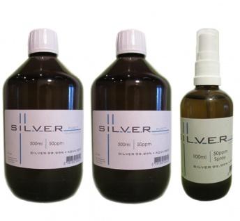 Kolloidales Silber 2x 500ml | 50ppm Flasche + 100ml | 50ppm Sprühflasche pur