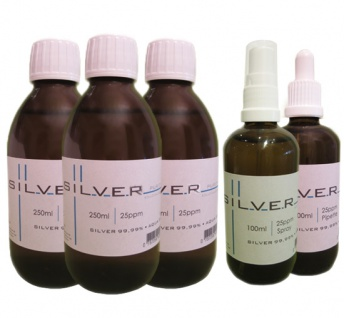 Kolloidales Silber 2x 250ml|25ppm Fl.+100ml|25ppm Pipettenfl.+100ml|25ppm Spray