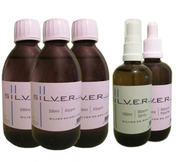 Kolloidales Silber 3x 250ml|50ppm Fl.+100ml|50ppm Pipettenfl.+100ml|50ppm Spray