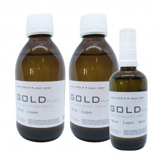 Kolloidales Gold 2x 250ml 2ppm Flasche + 100ml 2ppm Sprühflasche Spray Aurum pur