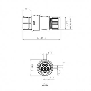 Buchse Female + Stecker Male fünfpolig Wieland RST 20i5 signalbraun DMX - Vorschau 3