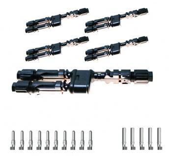 5x SC4 Verteilerset MM/F Y Stecker SC4 Stecker Solar Connector 4mm² UV beständig