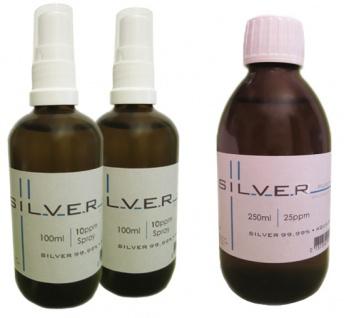 Kolloidales Silber 2x 100ml | 10ppm Sprühflasche + 250ml | 25ppm Flasche pur