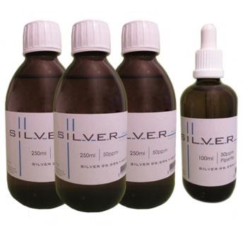 Kolloidales Silber 3x 250ml | 50ppm Flasche + 100ml|50ppm als Pipettenflasche