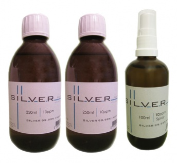 Kolloidales Silber 2x 250ml | 10ppm Flasche + 100ml | 10ppm Sprühflasche pur