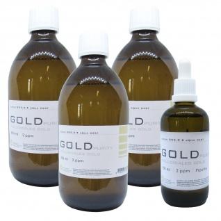 Kolloidales Gold 3x 500ml 2ppm + 100ml 2ppm Pipette Braunglas Originalitätsv.