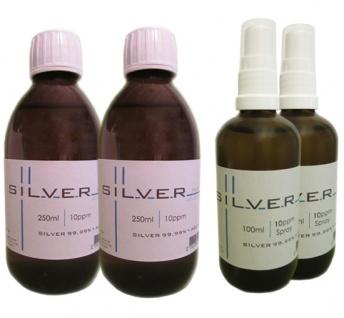 Kolloidales Silber 2x 250ml | 10ppm Flasche + 2x 100ml | 10ppm Sprühflasche pure
