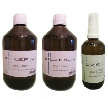 Kolloidales Silber 2x 500ml | 25ppm Flasche + 100ml | 25ppm Sprühflasche pur