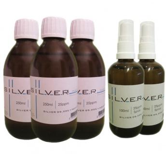 Kolloidales Silber 3x 250ml | 25ppm Flasche + 2x 100ml|25ppm als Sprühflasche