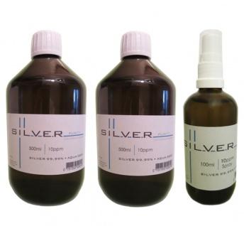 Kolloidales Silber 2x 500ml | 10ppm Flasche + 100ml | 10ppm Sprühflasche pur