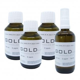 Kolloidales Gold 3x 100ml 2ppm Flasche + 100ml 2ppm Sprühflasche Spray Aurum pur