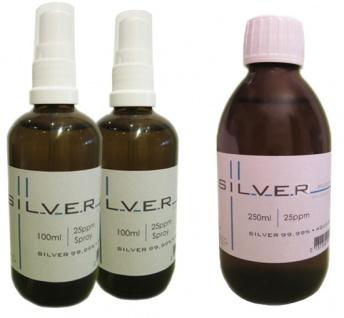 Kolloidales Silber 2x 100ml | 25ppm Sprühflasche + 250ml | 25ppm Flasche pur