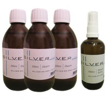 Kolloidales Silber 3x 250ml | 25ppm Flasche + 100ml|25ppm als Sprühflasche