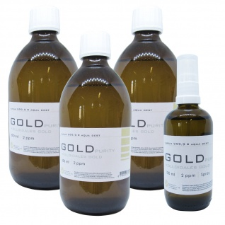 Kolloidales Gold 3x 500ml 2ppm Flasche + 100ml 2ppm Sprühflasche Spray Aurum pur