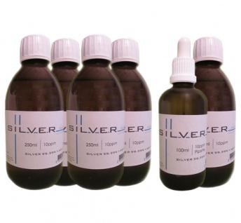 Kolloidales Silber 5x 250ml | 10ppm Flasche + 100ml | 10ppm Pipettenflasche pur