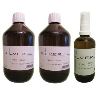 Kolloidales Silber 2x 500ml | 10ppm Flasche + 100ml | 50ppm Sprühflasche pur