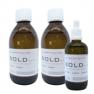 Kolloidales Gold 2x 250ml 2ppm + 100ml 2ppm Pipette Braunglas Originalitätsv.