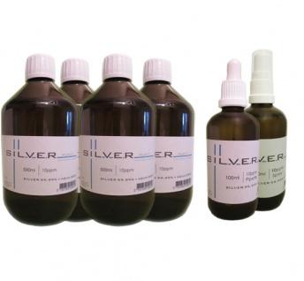 Kolloidales Silber 4x je 500ml 10ppm Fl. + Pipettenfl. + Spray je 100ml 10ppm