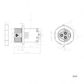 Buchse für Gehäuse Wand Female dreiadrig Wieland RST 20i3 signalbraun Schraubt. - Vorschau 3