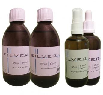 Kolloidales Silber 2x 250ml|50ppm Fl.+100ml|50ppm Pipettenfl.+100ml|50ppm Spray