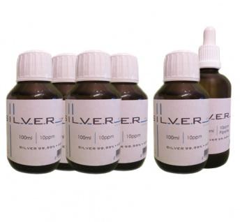 Kolloidales Silber 5x 100ml | 10ppm Flasche + 100ml | 10ppm Pipettenflasche pur