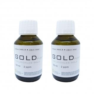 Kolloidales Gold 2x 100ml | 2ppm Flasche Braunglas Originalitätsverschluss pure