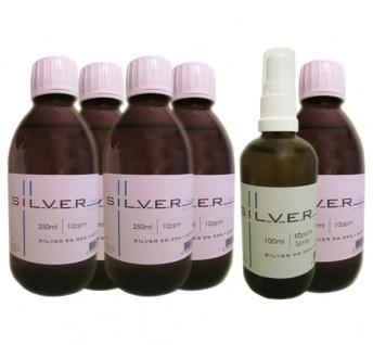 Kolloidales Silber 5x 250ml | 10ppm Flasche + 100ml | 10ppm Sprühflasche pur