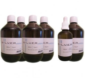 Kolloidales Silber 5x 500ml | 10ppm Flasche + 100ml | 10ppm Pipettenflasche pur