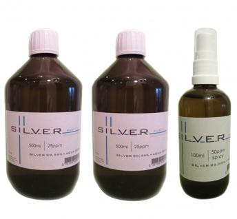 Kolloidales Silber 2x 500ml | 25ppm Flasche + 100ml | 50ppm Sprühflasche pur