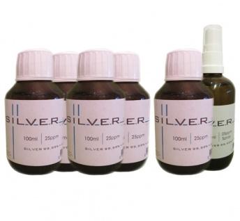 Kolloidales Silber 5x 100ml | 25ppm Flasche + 100ml | 25ppm Sprühflasche pur
