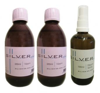Kolloidales Silber 2x 250ml | 10ppm Flasche + 100ml | 25ppm Sprühflasche pur