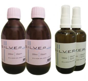 Kolloidales Silber 2x 250ml | 25ppm Flasche + 2x 100ml | 25ppm Sprühflasche pure