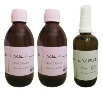 Kolloidales Silber 2x 250ml | 25ppm Flasche + 100ml | 25ppm Sprühflasche pur