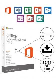 Microsoft Office 2016 Professional PLUS Vollversion MS Pro 32/64Bit Deutsch