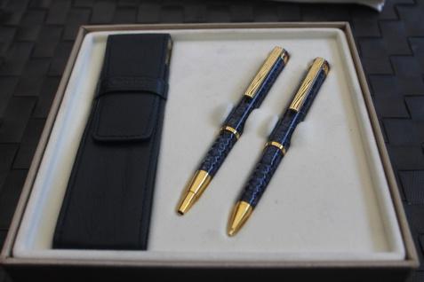 Schreibset 2teilig, blau-meliert, mit Ledermäppchen, Kugelschreiber und Bleistift