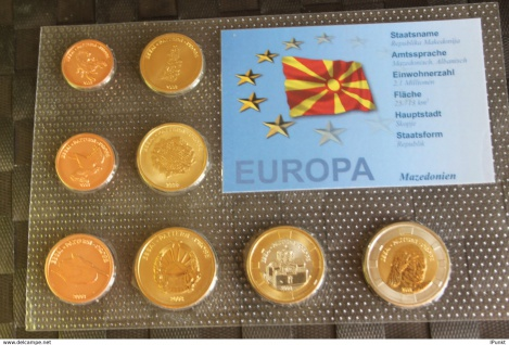 Mazedonien Kursmünzensatz 2008; EURO Pattern Set; Prototype, Probemünzen im Folder