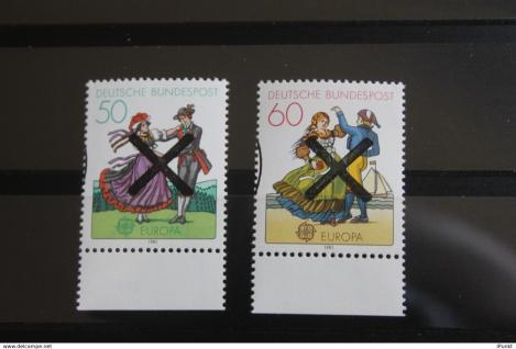 Deutschland BRD EUROPA-Marken 1981 mit Andreaskreuz; mit Unterrand