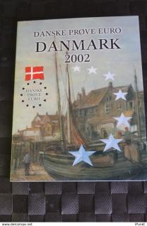 Dänemark Kursmünzensatz 2002; EURO Pattern Set; Prove, Probemünzen im Folder