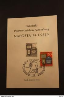 Deutschland; Vignette, Schwarzdruck NAPOSTA '74 Essen; UPU mit Marke, Sonderstempel